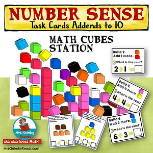 math cubes stations, task cards, addends to 10