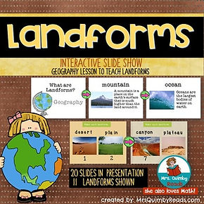 landforms, presentation, teaching resouces, mrsQuimbyReads