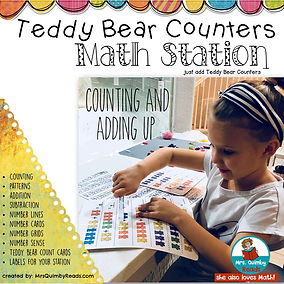 teaching resources, math, kindergarten, MrsQuimbyReads, addition, subtraction, teddy bear counters