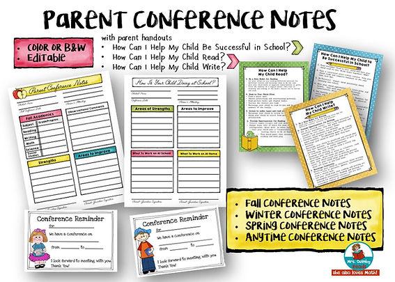 parent conference forms, teaching resources, handouts for parents