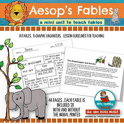fables, genre study, reader response pages, teaching resources, compare and contrast, literacy instruction, writing for third graders, moral in fables