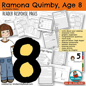 Ramona Quimby, Age 8, Children's Literature, Beverly Cleary, Reader REsponse Pages