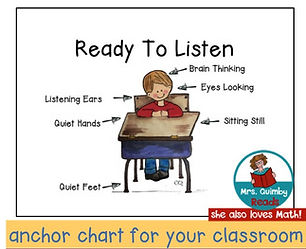 ready to listen, anchor chart, listening in the classroom, teaching resources, MrsQuimbyReads