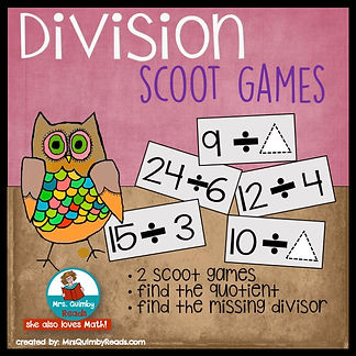 division scoot game, learning division, teaching resources, math, MrsQuimbyReads