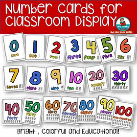 number cards, classroom display, teach counting, kindergarten, math and numbers, teaching resources, MrsQuimbyReads