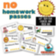 homework passes, free teaching resources, MrsQuimbyReads