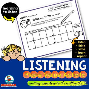 place value activity-listening