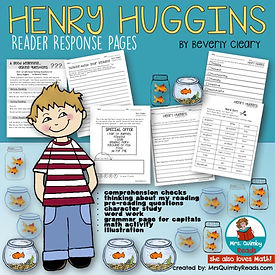 Henry Huggins, Beverly Cleary, reader response pages, teaching resources, literacy instruction, primary grades