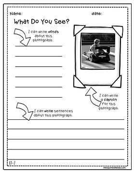 writing prompts from photographs, teach writing, morning seat work