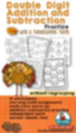 Double Digit Math - Thanksgiving