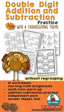 Double Digit Math - Thanksgiving