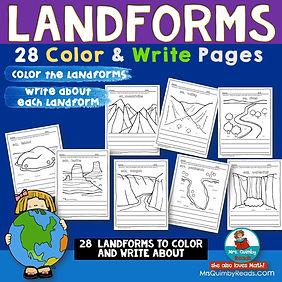 landforms - color & write