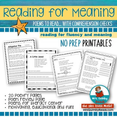 first grade, teach reading, reading for meaning, poetry, comprehension checks