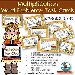 multiplication, word problems,task cards MrsQuimbyReads, teaching math, elementary school