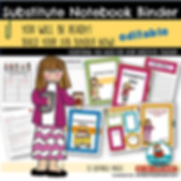 substitute notebook binder, teaching resources, back to school, classroom management, for the substitute