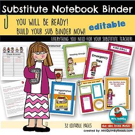 substitute binder, teachers notebook, teaching resources, back to school