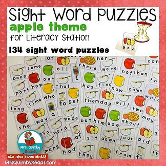 sight word puzzles, literacy, learn to read