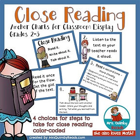 close reading, teaching resources, mrsquimbyreads, teaching literacy, elementary school
