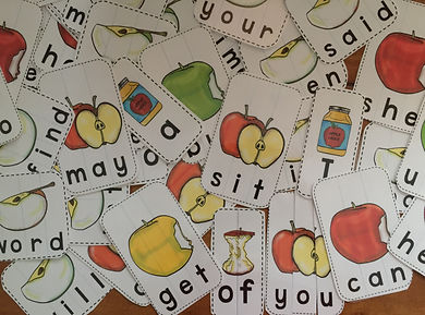 sight word puzzles, literacy station, apple theme for reading