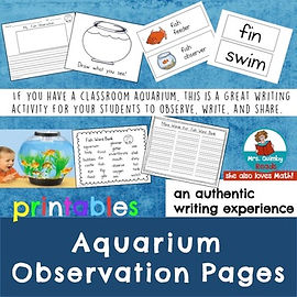 classroom aquarium, writing prompts, first grade, early literacy activities