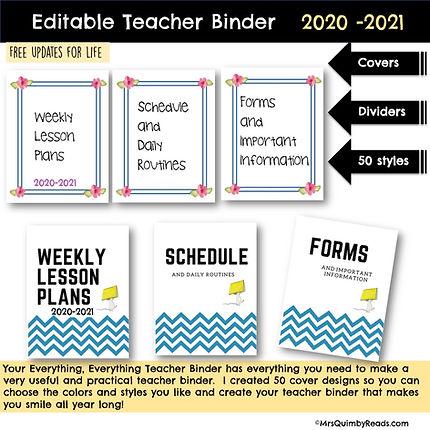Teacher Binder covers 2020