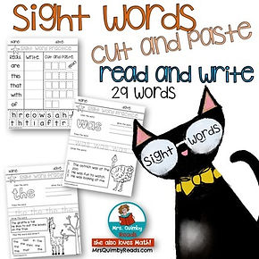 sight words cut and paste, teach literacy, sight word practice