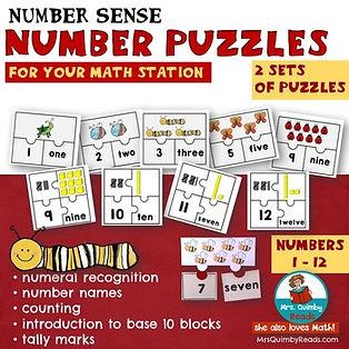 number sense, number puzzles, math station