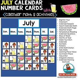 July Calendar - math resources