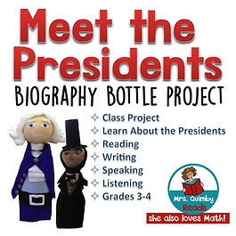 social studies, meet the presidents, biography bottle project, MrsQuimbyReads, teaching resources