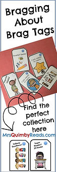 brag tags, mrsquimbyreads, teaching resources, classroom management