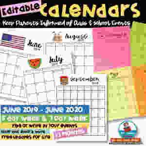 editable calendars, teaching resources, elementary school