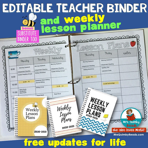 editable teacher binder-weekly lesson pl