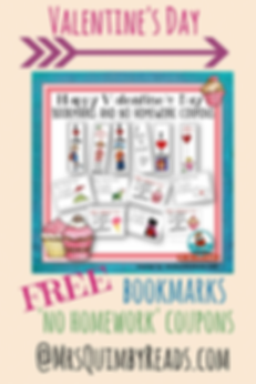Valentine's Day, bookmarks, no homework coupons, MrsQuimbyReads, teaching resources