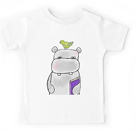 Hippo with Book and Bird- Tshirt
