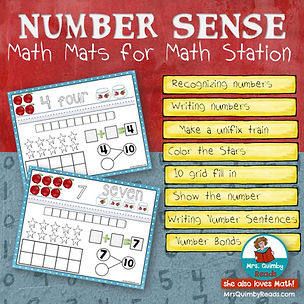 number sense, math mats, addends to 10, math station, primary grades