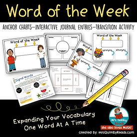 teaching resources for writing, word of the week, expland vocabulary, MrsQuimbyReads, literacy instruction