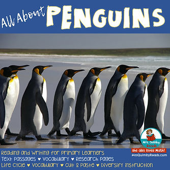 penguins, learn about penguins, teaching science, primary grades, birds, research for elementary students