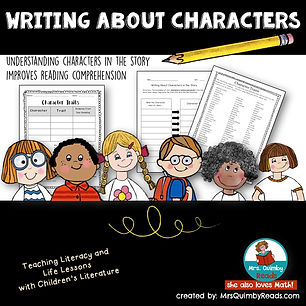 writing prompts, teaching resources, MrsQuimbyReads, character study, children's literature, free resources