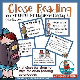 close reading, anchor charts, mrsquimbyreads, lesson plans, teacher created resources