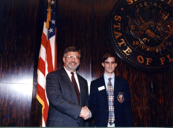 Chris with his Dad in Tallahassee working as a page.