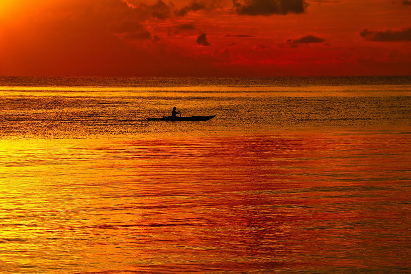 Red Sunrise Boatman