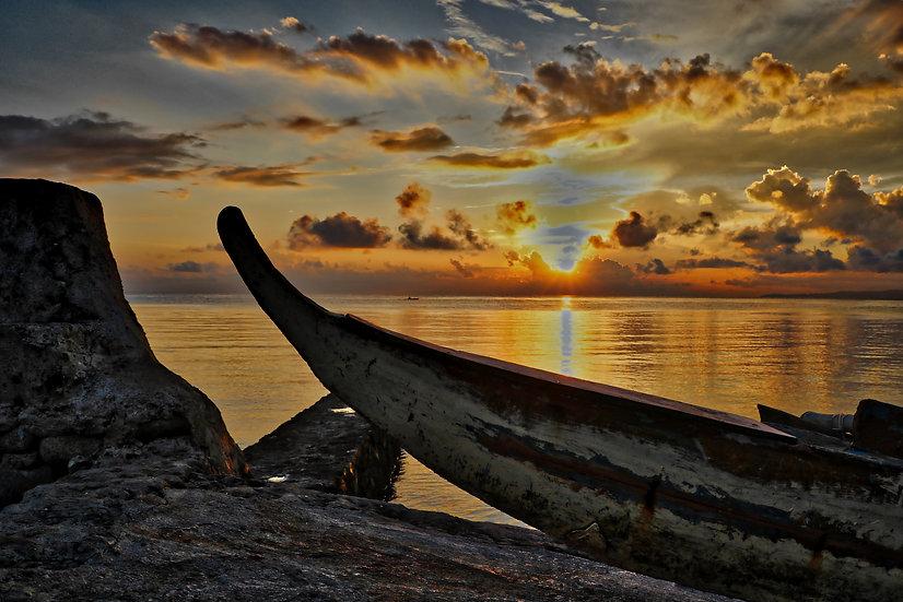 Fishermans Boat Docked Sunrise View