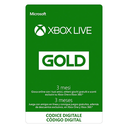 MICROSOFT XBOX LIVE GOLD ABBONAMENTO 3 MESI ESD