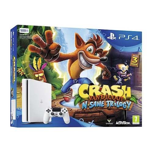 SONY PS4 500GB Slim White Chassis E + Crash Bandicoot N'Sane Trilogy