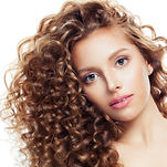 Attractive woman with curly isolated on