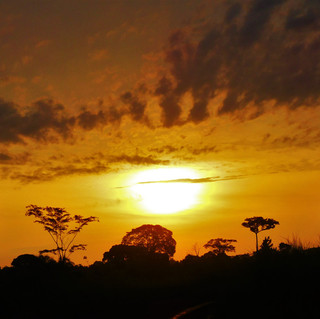 A typical sunset in West Africa, beautifully on fire with color as it retires for the day. I was in Mouila, a small town in Gabon.