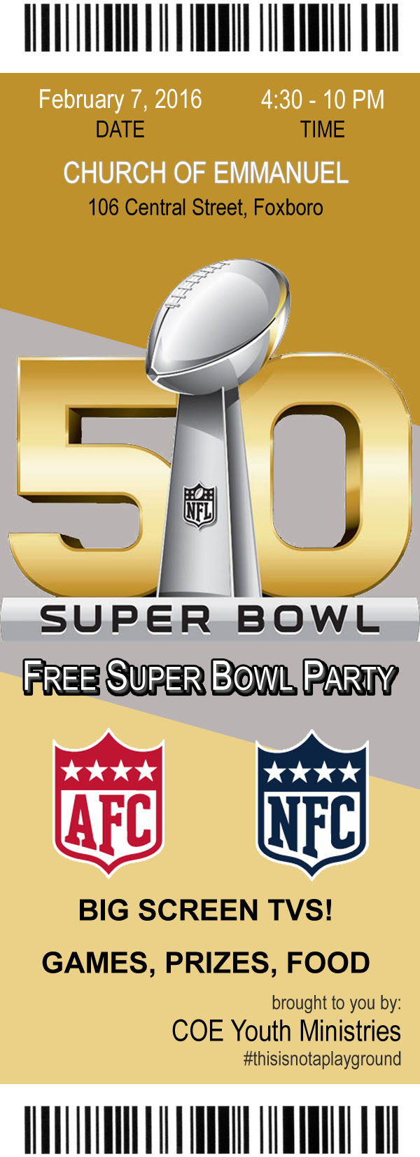 Youth Group Super Bowl Party Ticket