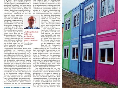 Jochen Biesinger: Halbtagskindern sollte eine verlässliche Grundschule geboten werden - MZ 08.08.19