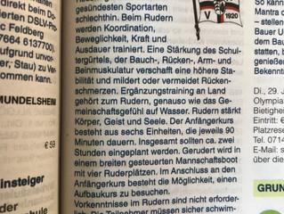 Rudern pro Gesundheit - der Marbacher Ruderverein kooperiert mit der VHS SchillervolkshochschuleLan