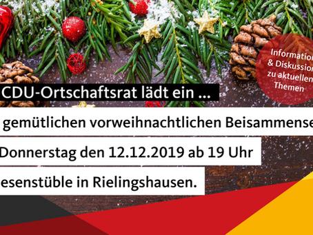 Der CDU Ortschaftsrat Rielingshausen lädt am 12.12.19 ab 19 Uhr ein